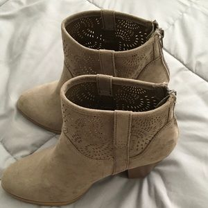 Gray booties with intricate cut out worn once